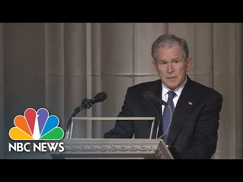 George W. Bush Praises The 'Best Father' In Emotional Eulogy | NBC News