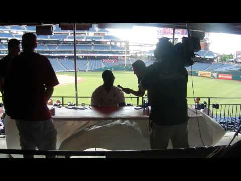 Domonic Brown Signing Autographs/Interview Phillies Phestival 2014