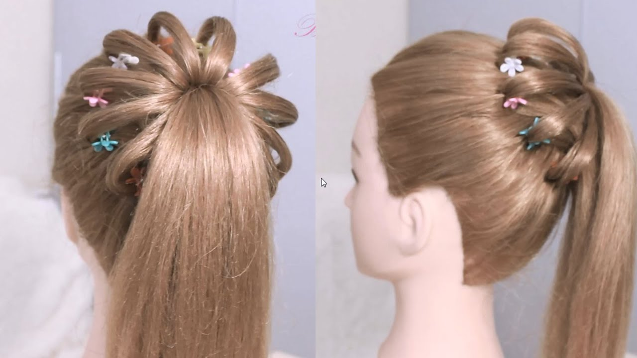 High ponytail hairstyle for long hair / Braided Ponytail Tutorial ...