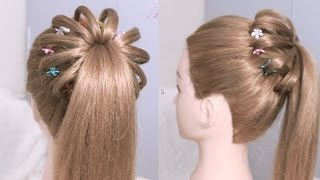 High ponytail hairstyle for long hair / Braided Ponytail Tutorial