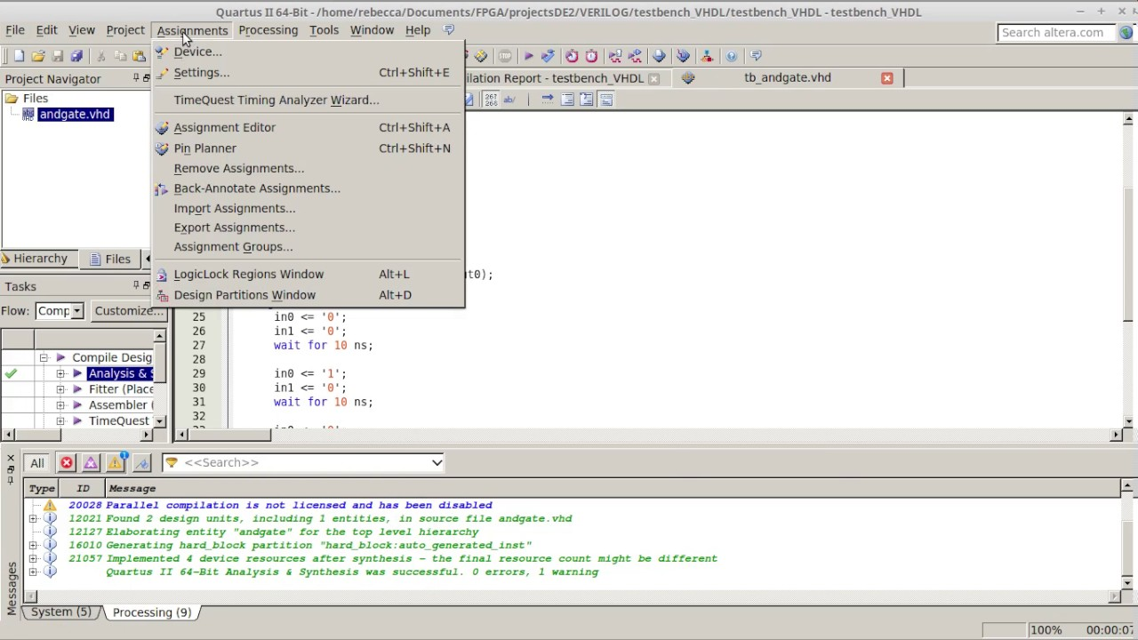 07 02 Fpga Modelsim Test Bench Simulate With Vhdl File