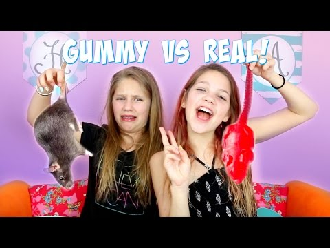 Thumbnail: Gummy vs Real Food Challenge | Annie and Hope JazzyGirlStuff