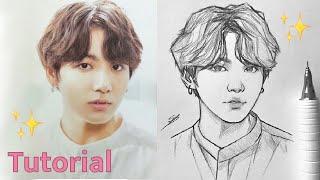 Drawing BTS Jungkook - Tutorial/Speed Draw 😃