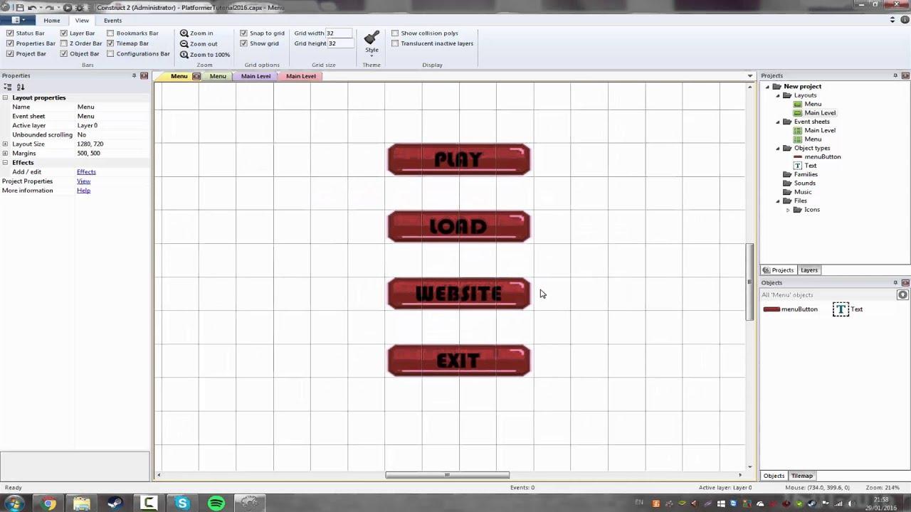 e1 new platforming tutorials gui construct 2
