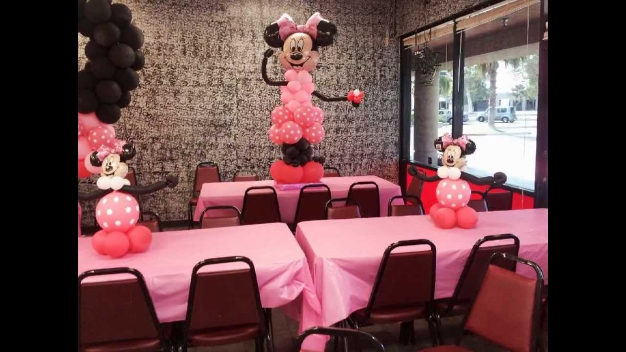 Minnie Mouse Balloon Arch Columns And Centerpieces Youtube