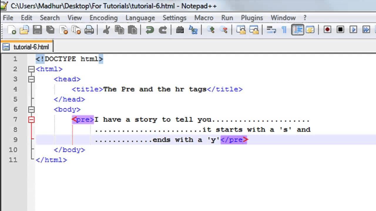 HTML Tutorial - 6: The Pre Tag & Horizontal Rules