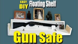 Easy DIY Floating Shelf Secret Hidden Gun Safe. This hidden access floating shelf is unique because the front and sides fold away