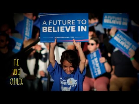 "Child at Bernie Sanders Rally holding ""Future to Believe in"" Sign (Slow Motion)"