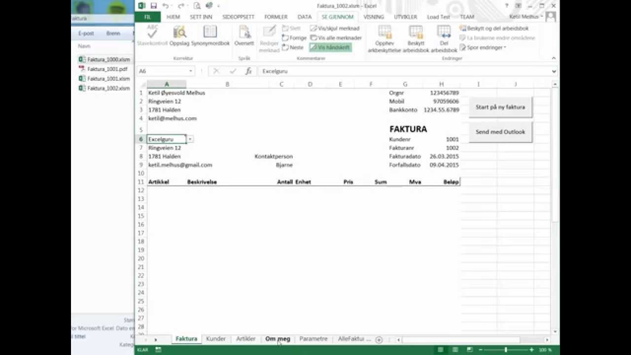 Excel På Norsk Lage Faktura I Excel Og Sende Som Pdf Fra Outlook