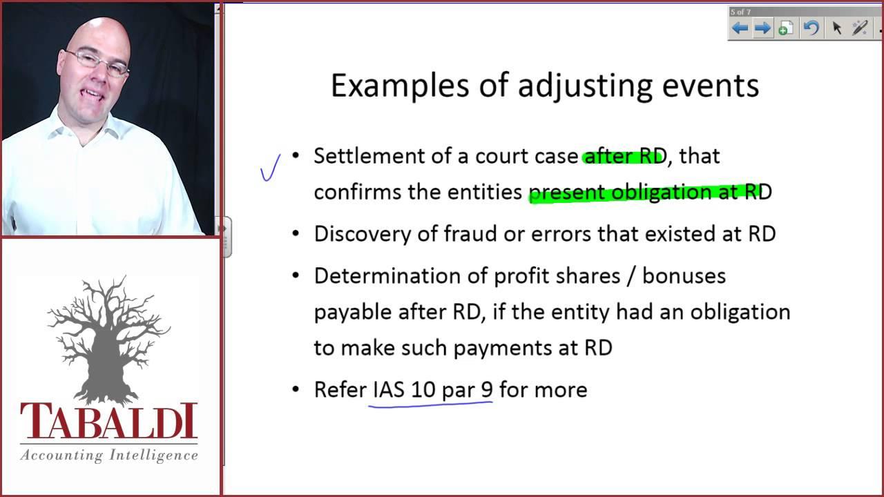 ias 10 l1 adjusting and nonadjusting events after