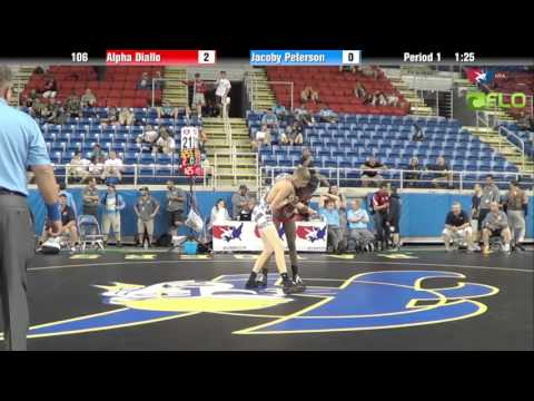 Junior 106 - Alpha Diallo (New York) vs. Jacoby Peterson (Oregon)