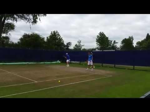 Sam Groth and Diego Schwartzman practice session (short clip) Aegon Open Nottingham 2015