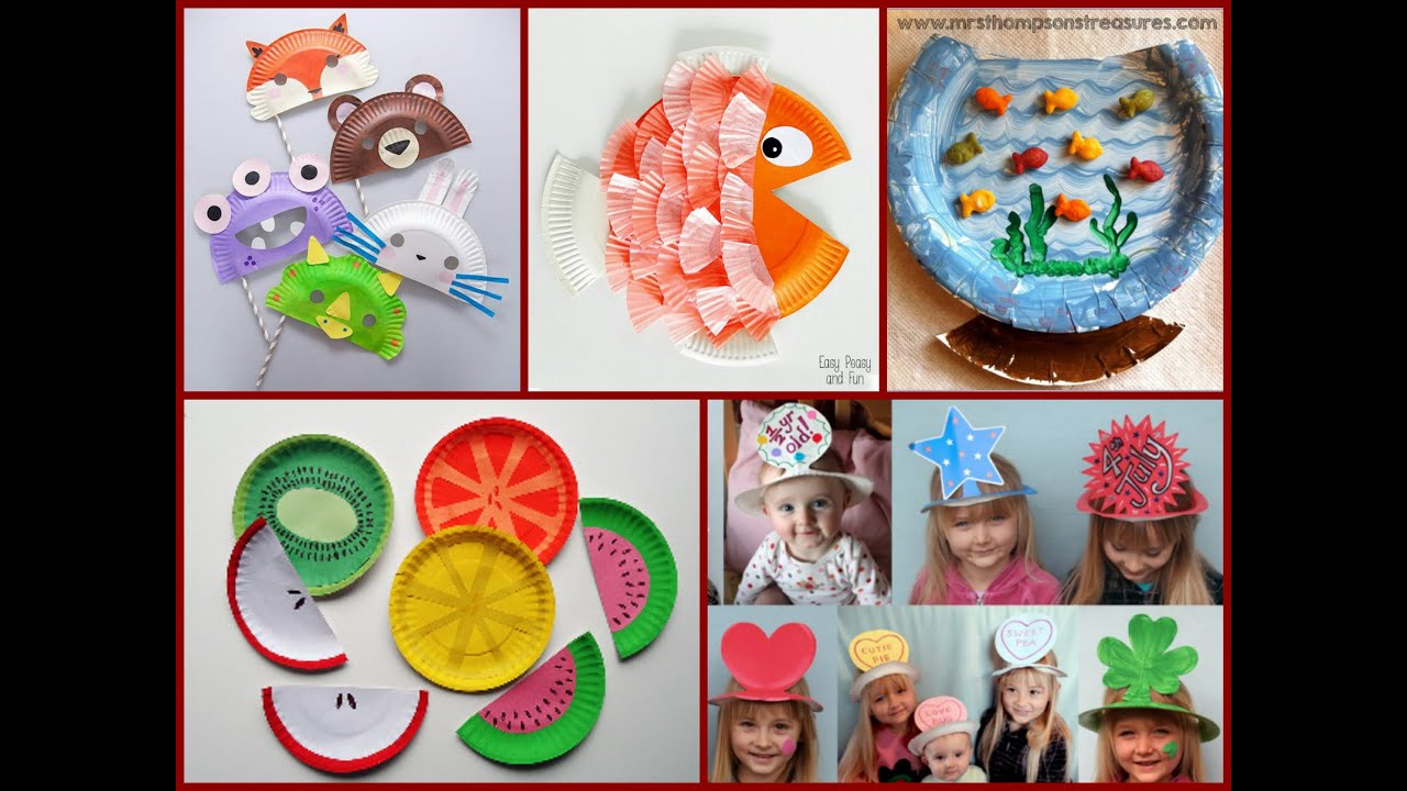 Kid craft ideas paper plate crafts youtube for Aarti dish decoration