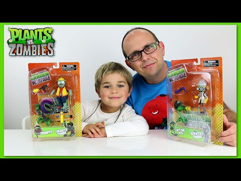 Plants VS Zombies - Scientist, Chomper, Pea And Engineer Zombie Toy Review