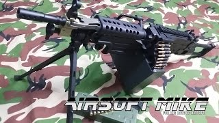 A&K M249 PARA AIRSOFT LIGHT MACHINE GUN Unboxing Review Shooting Test