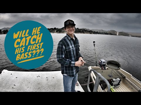 Will he catch his first bass???-Castaic Lake