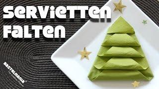 Servietten Falten Anleitung Tannenbaum Weihnachten Diy Napkin Folding Instruction Christmas Tree
