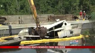 Abandoned Boats Being Removed from Dog River