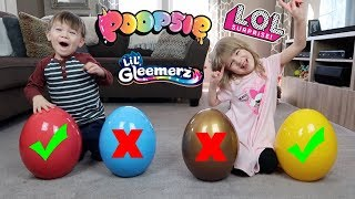 Don't Choose the Wrong GIANT Mystery Egg Challenge! L.O.L. Surprise, Poopsies, Lil Gleemerz Babies