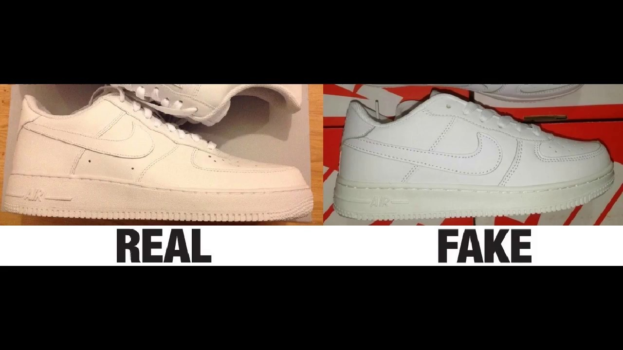f8c5b8213b72e How To Spot Fake Nike Air Force 1 Sneakers   Trainers Authentic vs Replica  Comparison