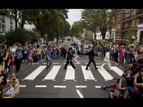 Beatles Abbey Road crossing packed for 45th anniversary