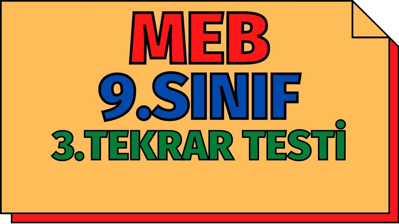 9.Sınıf Kimya 3.Tekrar Testleri (Atom ve Periyodik Sistem) MEB   TYT 2020