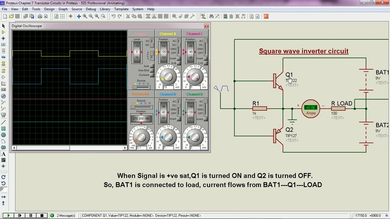Square wave Inverter circuit operation - Proteus - YouTube