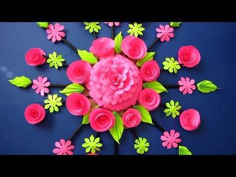 DIY. Simple Home Decor. Wall Decoration Door. Hanging Flower. Paper Craft Ideas. Newspaper 102