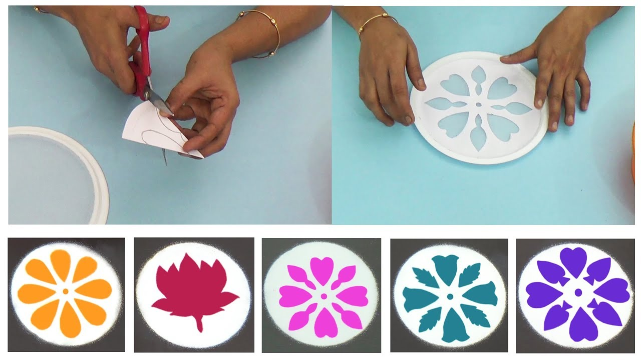 Easy and quick rangoli designs with rangoli stencils | Simple ways to make  rangoli stencils