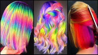Top 10  Amazing Short Hair Color Rainbow Transformation Tutorial Compilation!Neon Rainbow Dying Hair