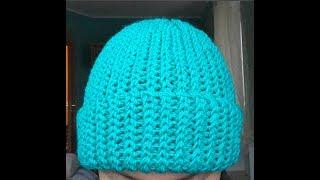 Простая легкая шапка девушке крючком для начинающих имитация вязки спицами crochet hat