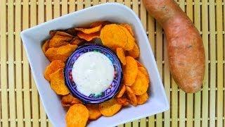 Crispy Caribbean Sweet Potato Chips.