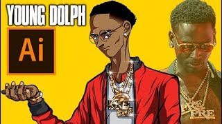 YOUNG DOLPH DRAWING IN Dragon Ball Z ARTSTYLE! ( ADOBE ILLUSTRATOR )