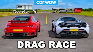 Porsche 911 Turbo S vs McLaren 720S: DRAG RACE