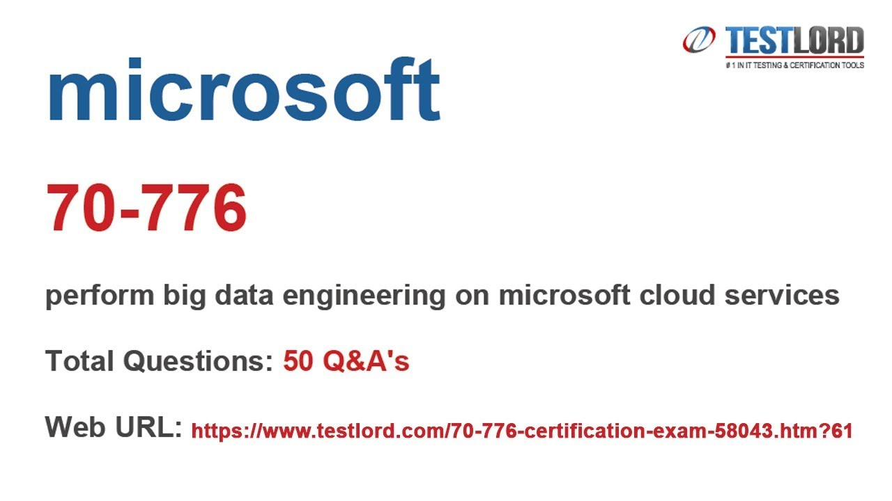 Microsoft 70 776 Certification Questions Answers In Pdf Youtube