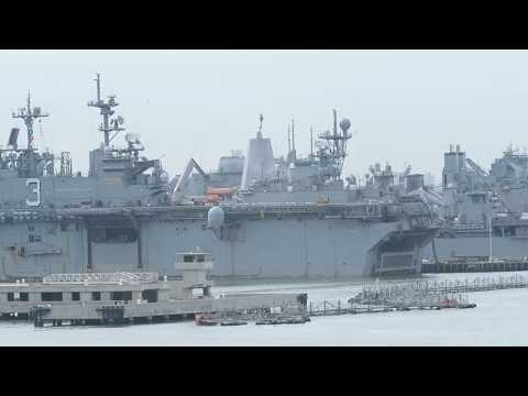 B-ROLL: Ships Depart Naval Station Norfolk Ahead of Hurricane Dorian