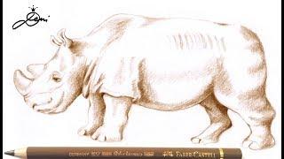 Breitmaulnashorn Sudan zeichnen🦏 Nashorn malen 🦏How to Draw a Rhino 🦏 как се рисува носорог