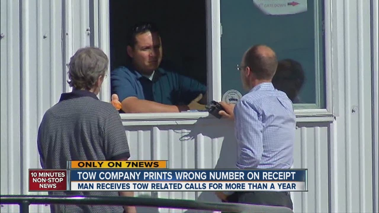 tow company prints mans phone number on towing receipts