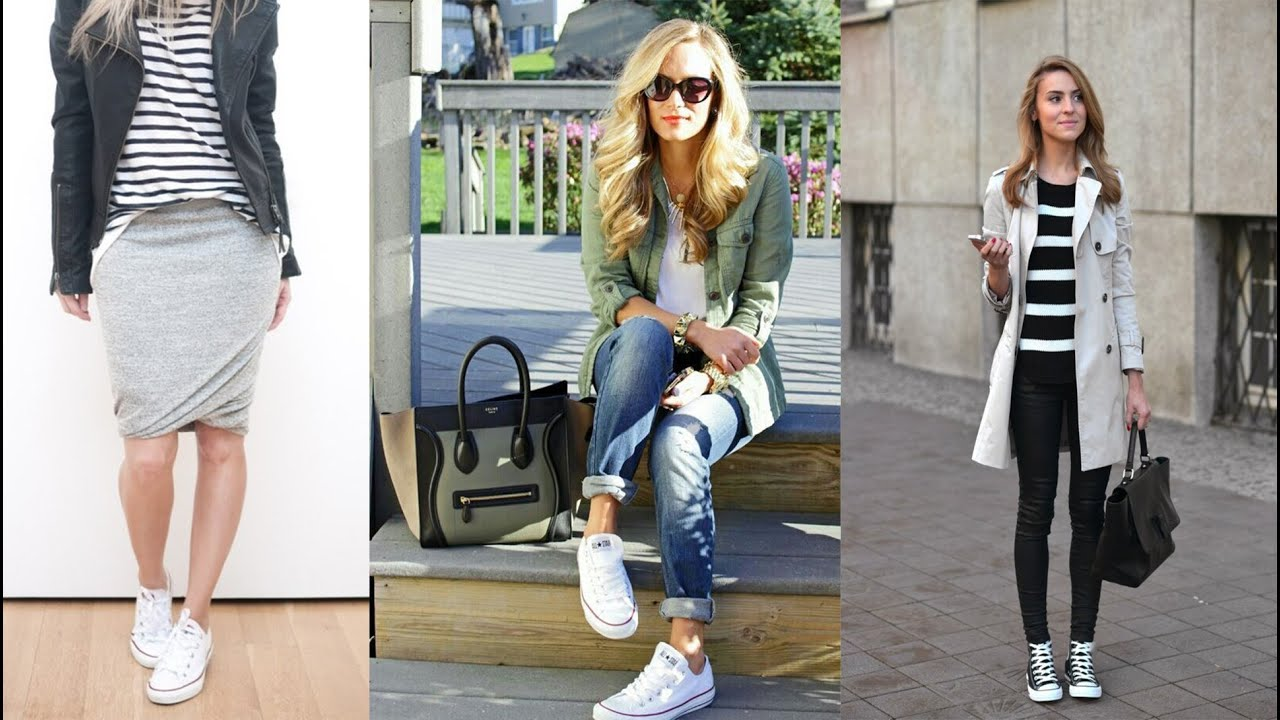 outfit con converse blancos mujer