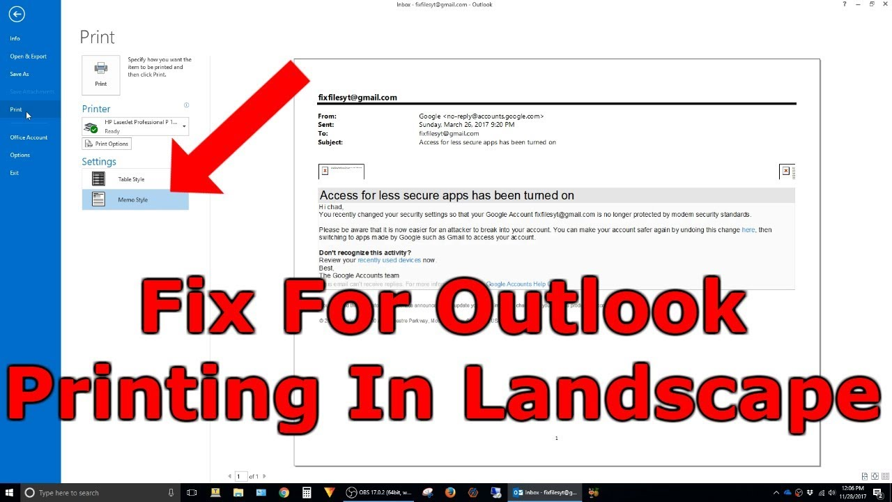 outlook 2013 printing in landscape instead of portrait