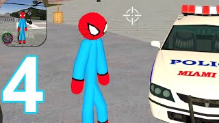 Flying-Spider StickMan Rope Hero Strange Gangster - Gameplay Walkthrough Part 4 (Android,iOS)
