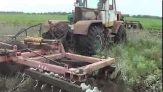 Дискование трактора по бурьяну Т-150К+БДТ-7,БДМ-3Х4