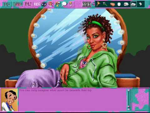 Leisure Suit Larry 6 (part 10/25): Shablee in the make-up classroom |