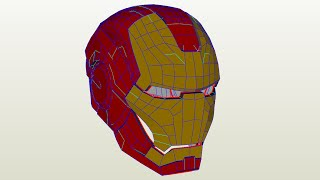 Iron man helmet from blender to paper (papercraft)