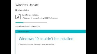 Super Easy Quick Fix:windows 10 Creators Update Fails With 0xc1900201 System Reserved Partition