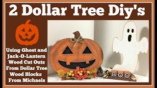 2 Dollar Tree Wood Jack-O-lantern 🎃 and Ghost Diy's So Cute and Easy