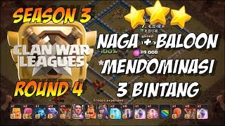Clan War Leagues Season 3 Round 4 Clash of Clans - Dragon + Balloon 3 Stars TH12
