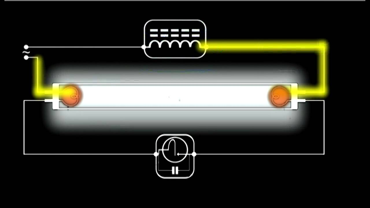 How A Fluorescent Light Works - Schematic Animation