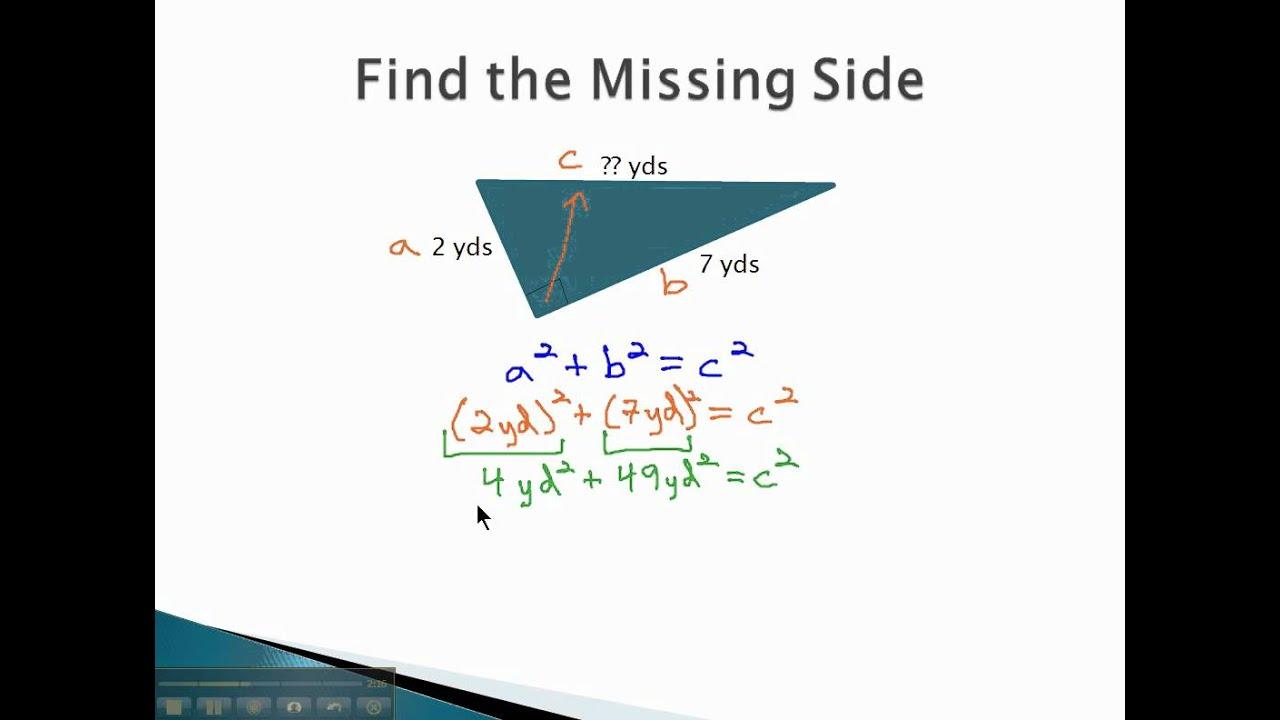 Pythagorean Theorem Find Hypotenuse Youtube