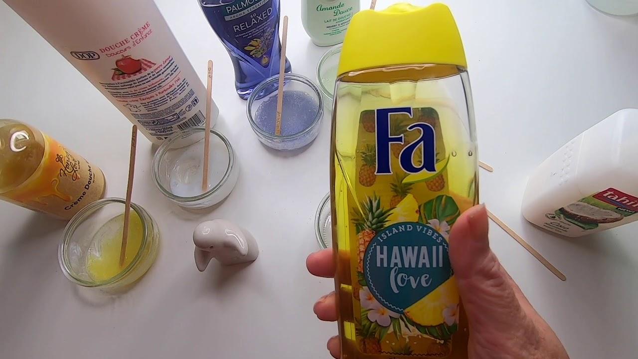 je teste 6 marques de gel douche pour faire du slime sans colle